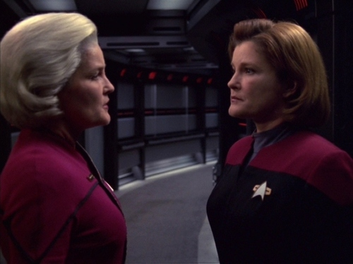 "Admiral Janeway talks to Captain Janeway in ""Endgame"""
