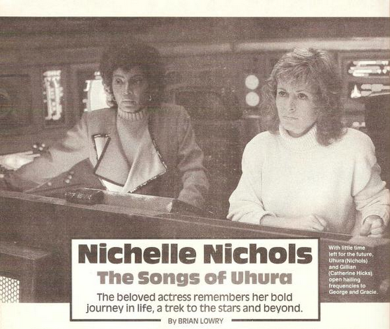 Nichelle Nichols and Catherine Hicks in Star Trek IV, from Starlog 1987