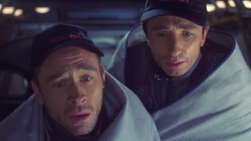 Reed and Trip huddle in blankets in the shuttlepod