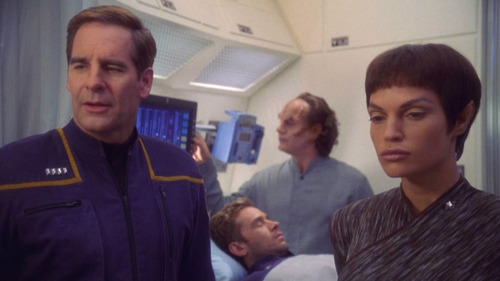 Archer and T'Pol talk to Reed and Trip in sickbay