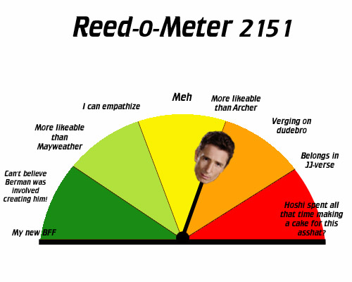 "Reed's arrow is now pointing farther to the right, to ""More likeable than Archer"""