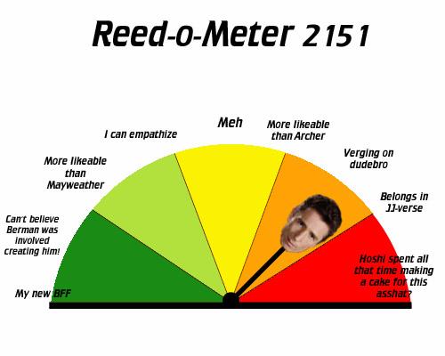 """Reed-o-meter now pointing between """"Verging on Dudebro"""" and """"Belongs in JJ-verse"""""""