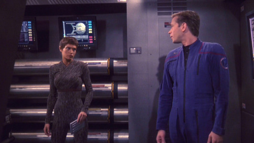 T'Pol looks really annoyed with Trip