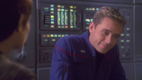 Trip gives a tight smile in response to T'Pol's suggestion
