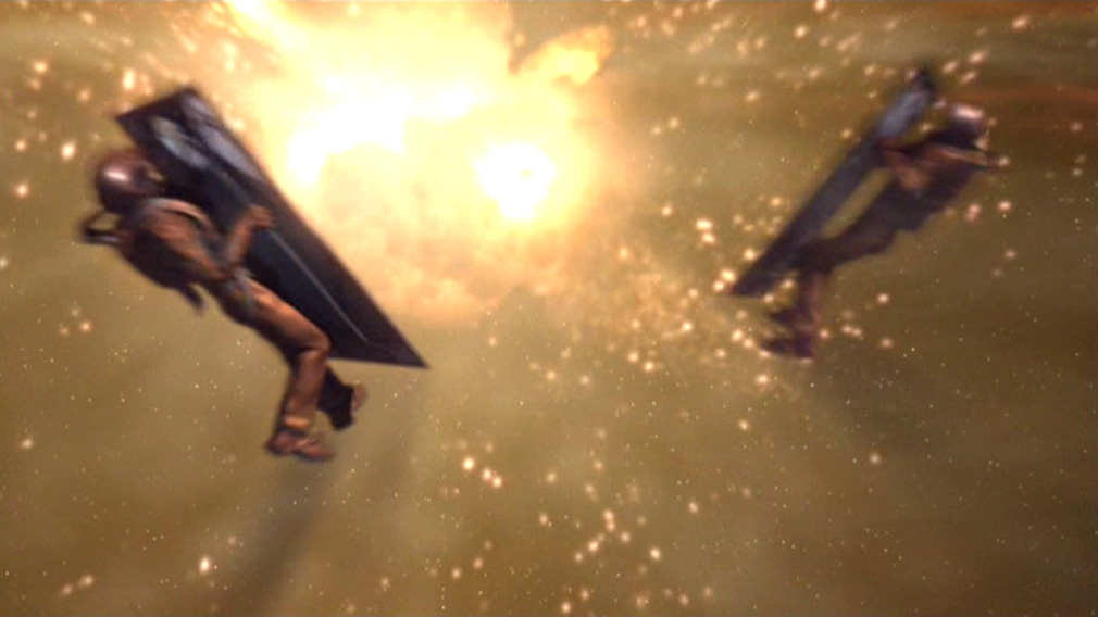 Archer and Reed go flying after the explosion blows them and the shuttlepod doors away from the ship