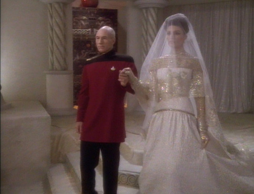 Picard walks Kamala down the aisle