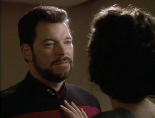 Kamala puts her hand on Riker's chest