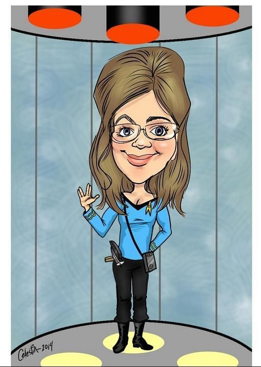 Caricature of Jarrah on a transporter pad in a TOS blue shirt and pants