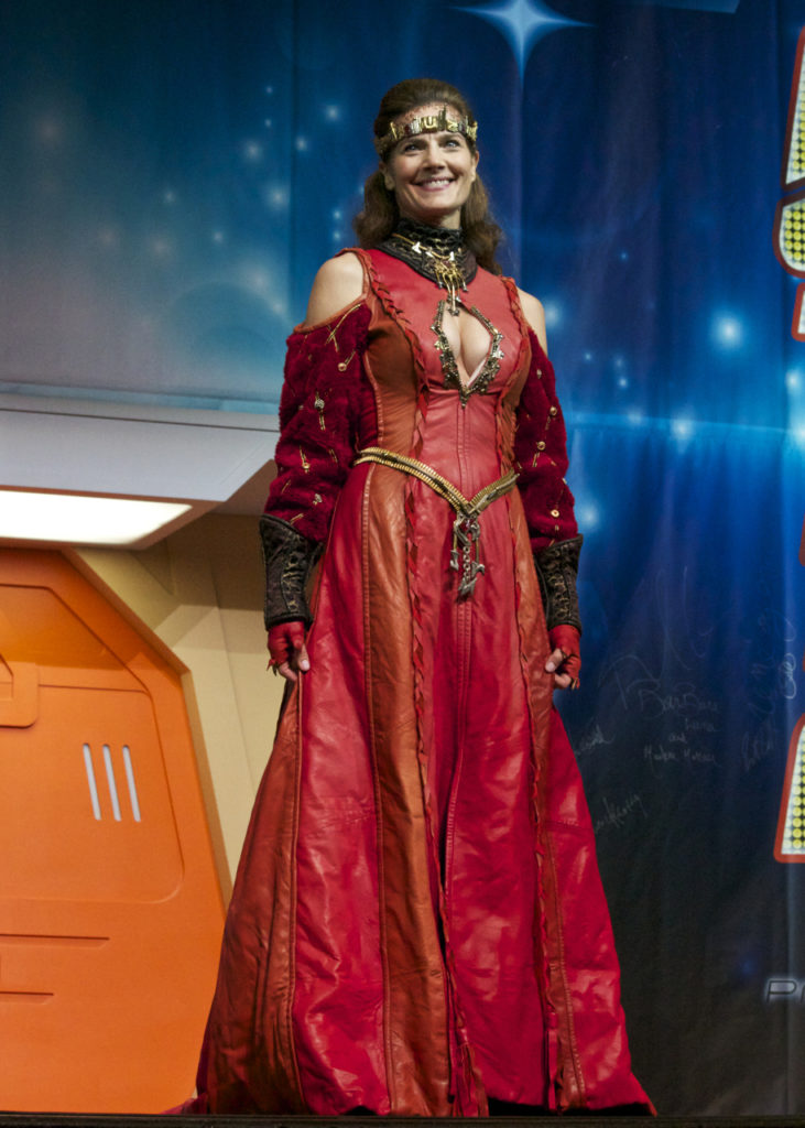 Terry Farrell steps out in Klingon wedding dress