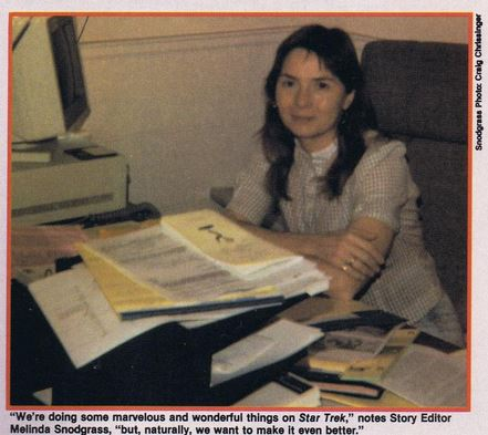 Photo of Melinda Snodgrass at her desk