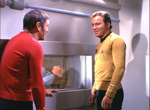 Kirk and Scotty smile at each other outside of the chamber where Romaine is laying