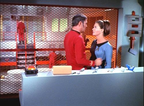 Scotty reassures Romaine in Engineering