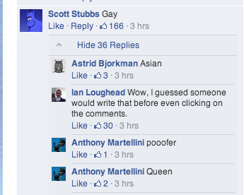 Commenters describing Sulu as Gay, Poofer, Asian, Queen