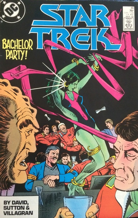 Cover of Star Trek: Bachelor Party, showing crewmen gawking at a dancing Orion woman