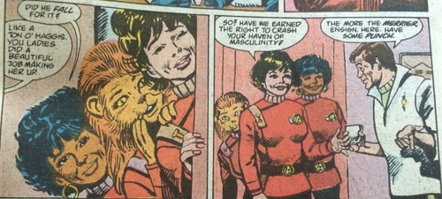 Uhura, M'Ress and Ensign Sherwood ask McCoy if they can join the party