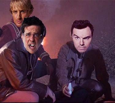 Photoshop of the heads of Owen Wilson, Ed Helms and Seth MacFarlane onto bodies from Star Trek Into Darkness