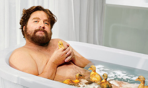 Zach Galifianakis in a bathtub with real ducklings