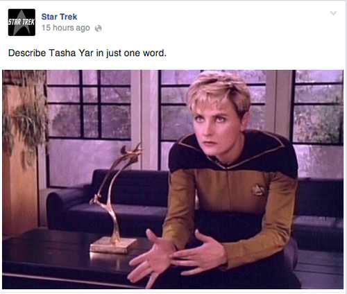 "Post with photo of Tasha Yar and ""Describe Tasha Yar in just one word"""