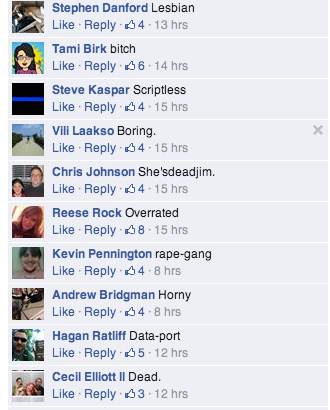 "Comments including ""lesbian,"" ""bitch,"" ""Data-port"" and ""rape-gang"""