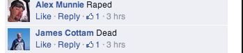 "Comments describing Yar as ""Raped"" and ""Dead"""