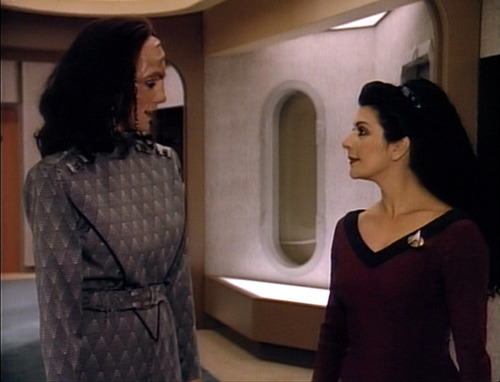 "Troi talks to K'Ehleyr in ""The Emissary"""