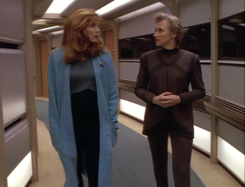 "Crusher talks to Dr. Russell in ""Ethics"""