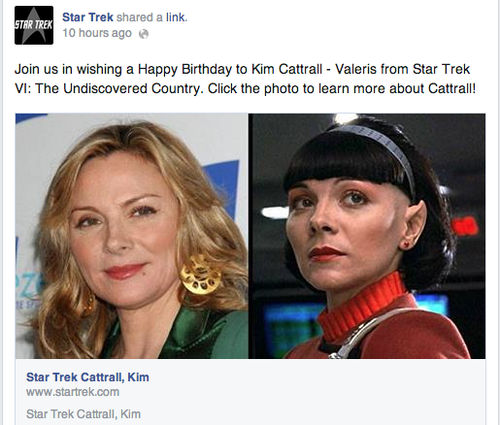 Post on the Star Trek facebook asking for people to wish Kim Cattrall a Happy Birthday