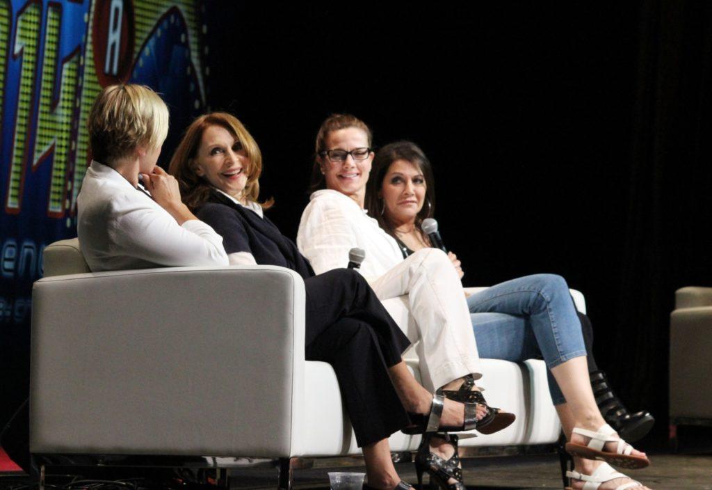Denise Crosby, Gates McFadden, Terry Farrell and Marina Sirtis on a sofa