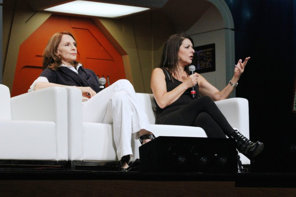 Gates McFadden and Marina Sirtis speaking on their Q&A