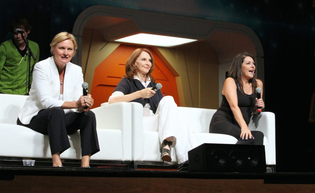 Denise Crosby, Gates McFadden and Marina Sirtis on stage
