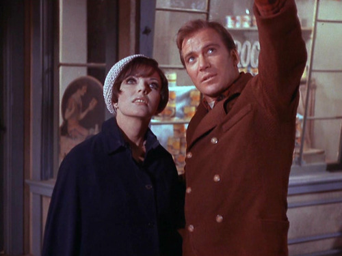 "Edith Keeler and Kirk look at the sky in ""Cty on the Edge of Forever"""