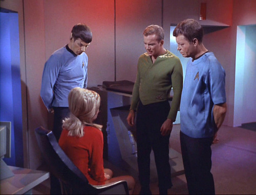 Spock, Kirk and McCoy confront a tearful Rand