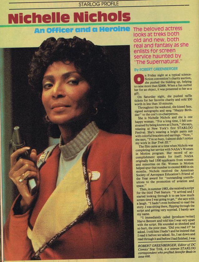 Spread of Nichelle Nichols in Starlog with photo from Star Trek V