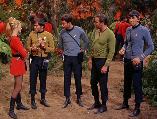 The Away Team - Chekov gives Landon a flower he has picked
