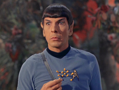 Spock freezes after being shot with sedative flower darts