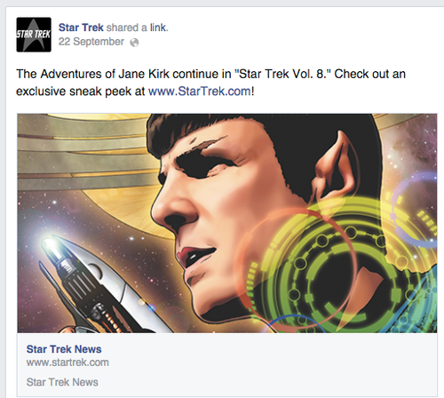 Post advertising the Star Trek Vol 8 comic and the adventures of Jane Kirk (gender swapped Capt Kirk)