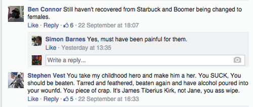 "Ben Connor: ""Still haven't recovered from Starbuck and Boomer being changed to females."""