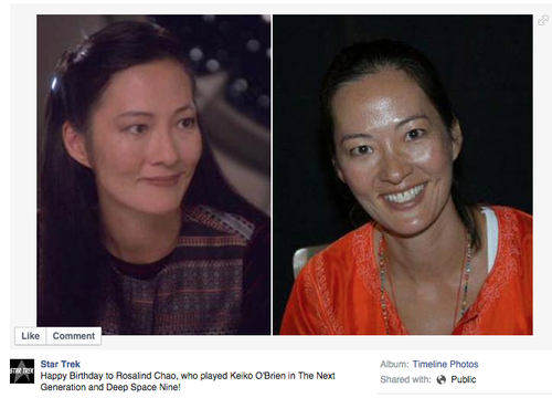 Post inviting fans to celebrate Rosalind Chao's bday, with photos of her now and of her as Keiko