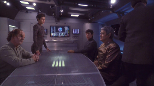 Phlox and T'Pol at the conference table across from the 2 Vulcans