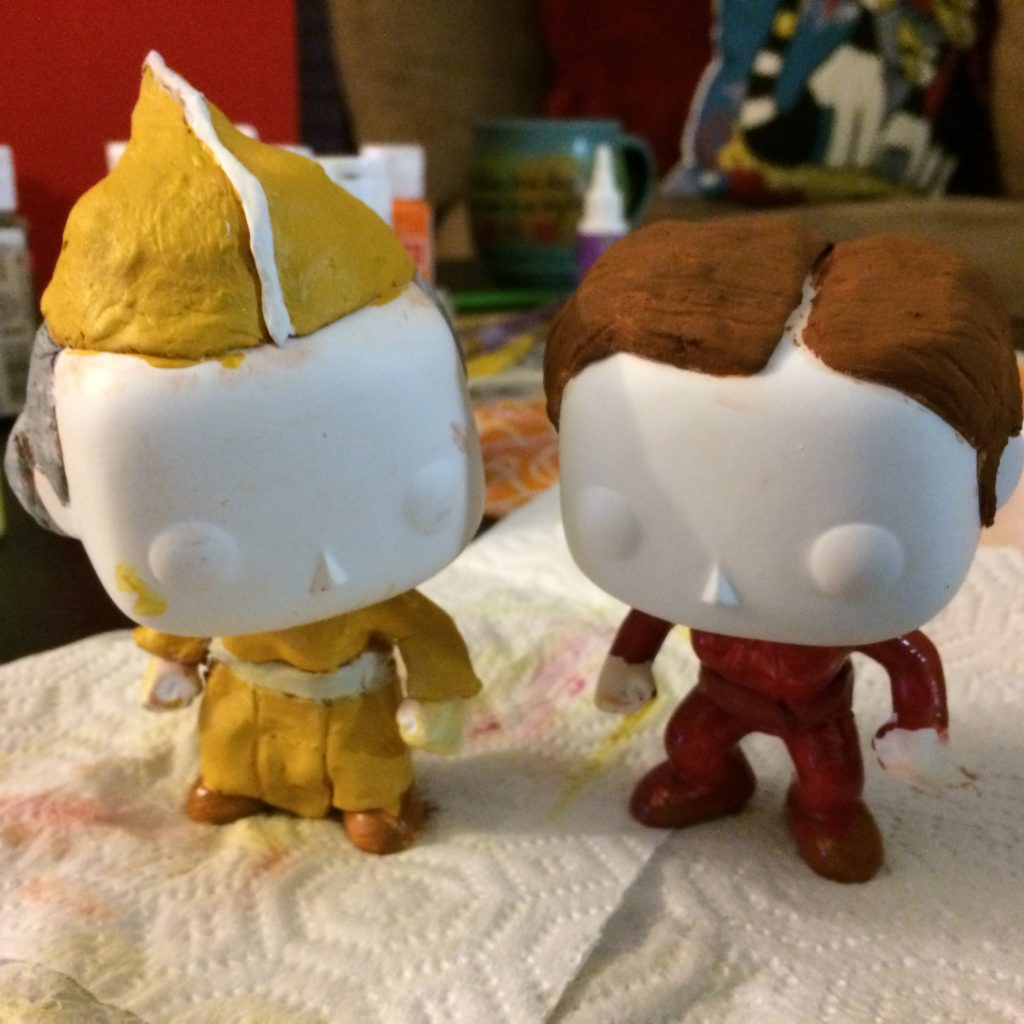 Kai Winn and Kira funkos with clothing added and base painted, just waiting for faces and clothign detail  to be painted