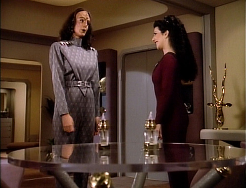 "K'Ehleyr and Troi talk in ""The Emissary"""