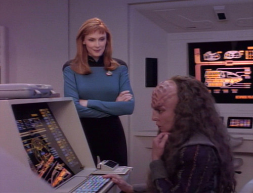 "Crusher and the Klingon scientist in ""Suspicions"""