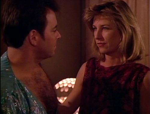 Riker stares passionately at Mistress Beata