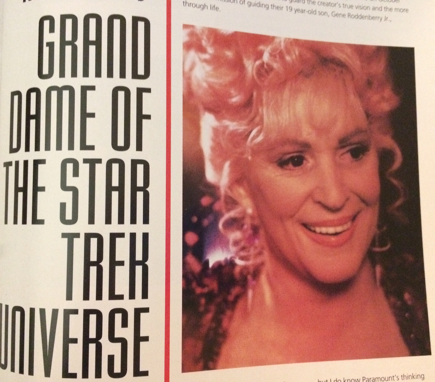 """Photo of Majel as Lwaxana Troi on DS9 with headline """"Grand Dame of the Star Trek Universe"""""""