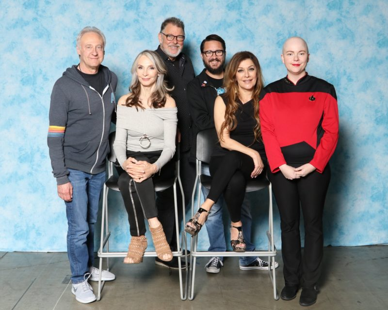 photo of the author with actors from TNG