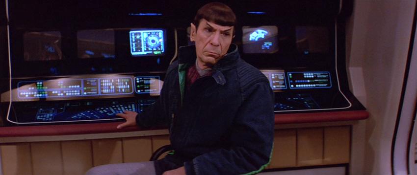 Spock looking sad on the bridge