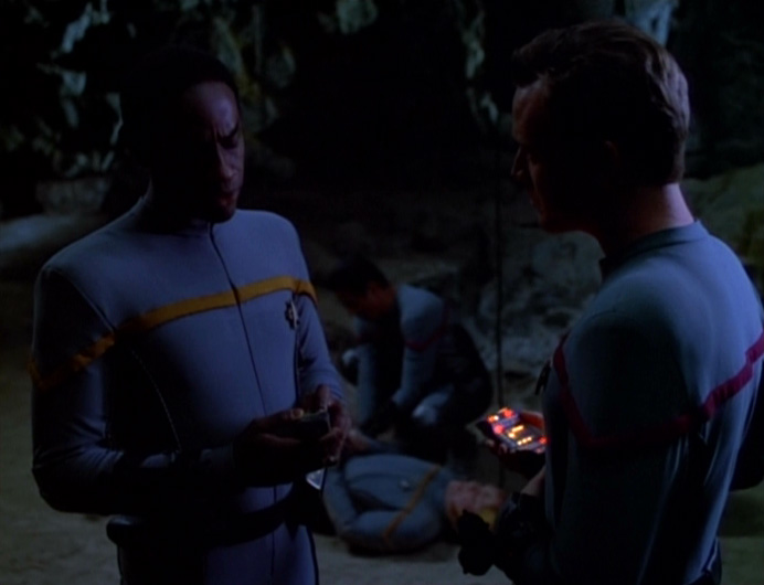 Tuvok and Paris on the planet