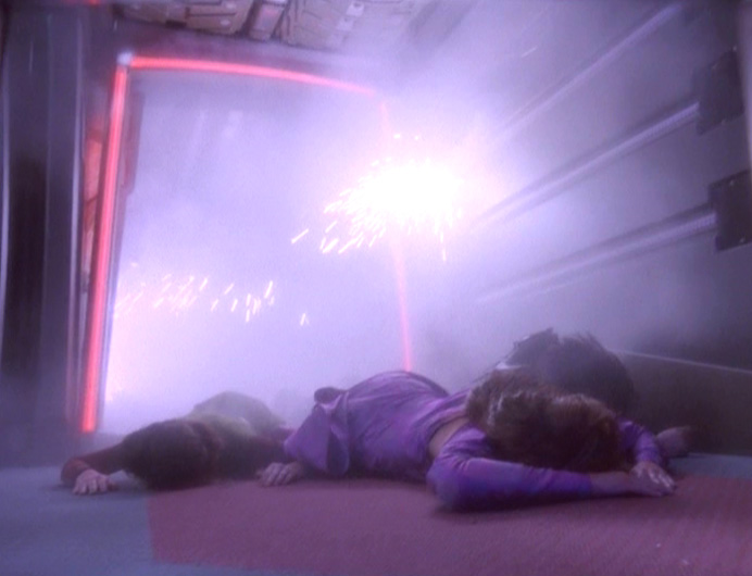 Meru, Dukat and Nerys lie outside the blast radius