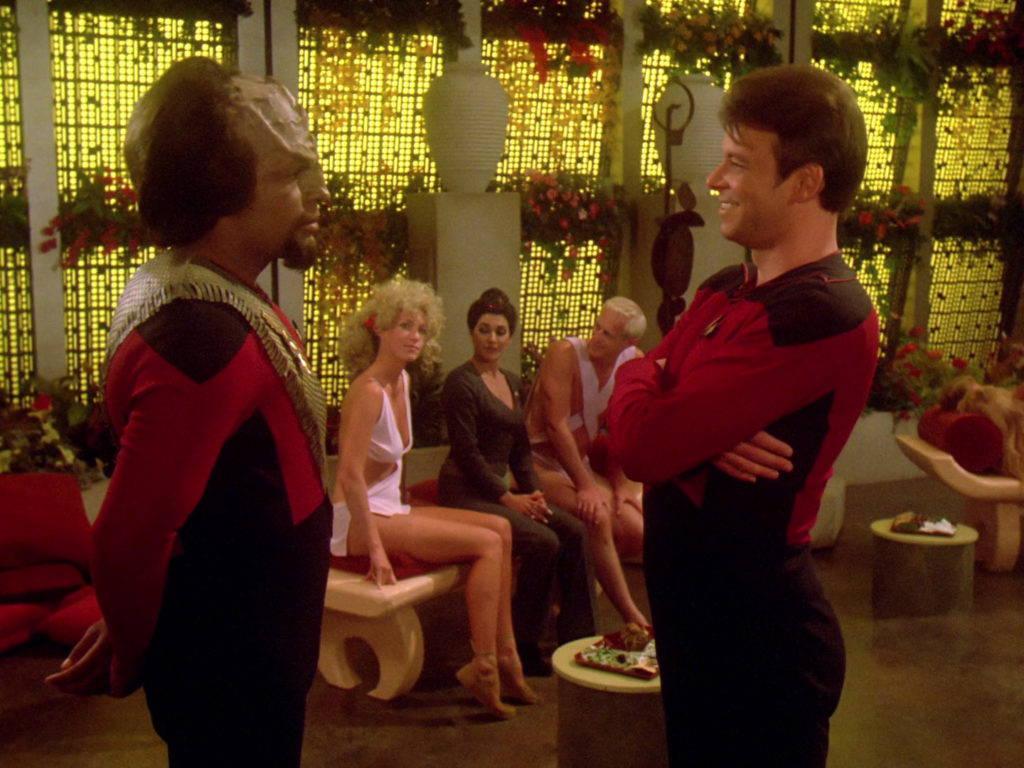 Worf and Riker talk about boning