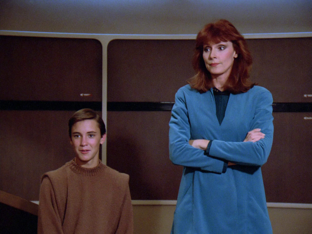 Wesley and Dr. Crusher on the bridge